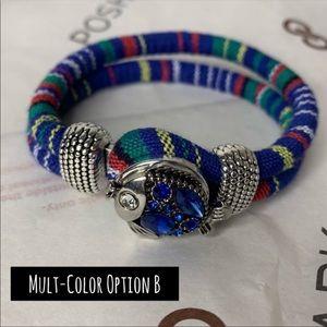 Blue Plaid Ginger Snap Interchangeable Bracelet